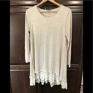 Jodifl Cream Tunic Top with Lace Bottom. Size S.